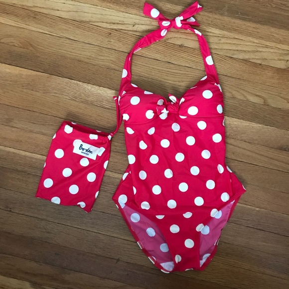 e09fae510c NWT Boden Retro Red Polka Dot One Piece Swim Suit!